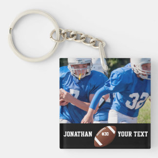 Custom Football Photo Name and Number Keychain