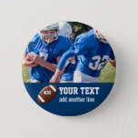 "Custom Football Photo Name and Number Pinback Button<br><div class=""desc"">Add your player&#39;s photo,  name and number to this custom football design.  Makes a great end of season gift to celebrate all his hard work and dedication.  Check out our other sports related designs by clicking on the Colorfulgalshop logo below.</div>"