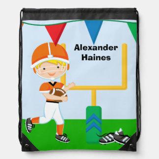 Custom Football Player Drawstring Backpack Bag