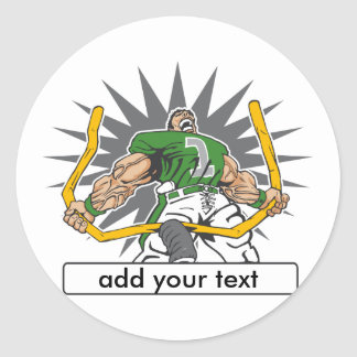 Custom Football Player Green Classic Round Sticker