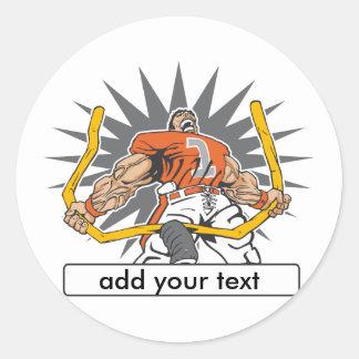 Custom Football Player Orange Classic Round Sticker