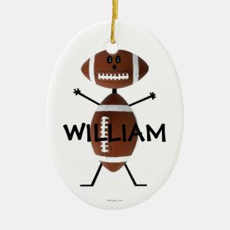 Custom Football Player Double-Sided Oval Ceramic Christmas Ornament