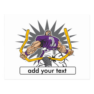 Custom Football Player Purple Postcard