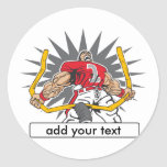 Custom Football Player Red Stickers