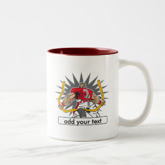 Custom Football Player Red Two-Tone Coffee Mug