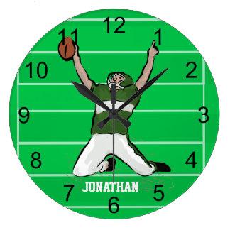 Custom Football Player Touchdown Green and White Clocks