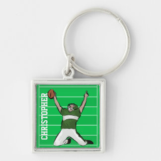 Custom Football Player Touchdown Green and White Silver-Colored Square Keychain