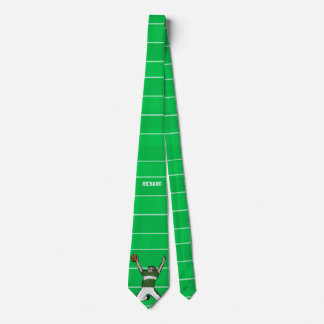 Custom Football Player Touchdown Green and White Tie