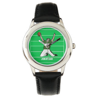 Custom Football Player Touchdown Green and White Watch