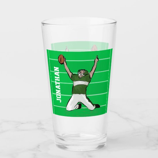 Custom Football Player Touchdown Green Glas