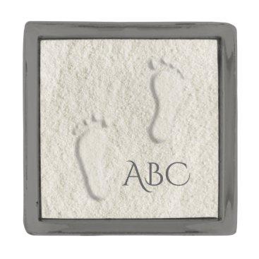 Beach Themed Custom footprint/footprints on sandy beach design gunmetal finish lapel pin