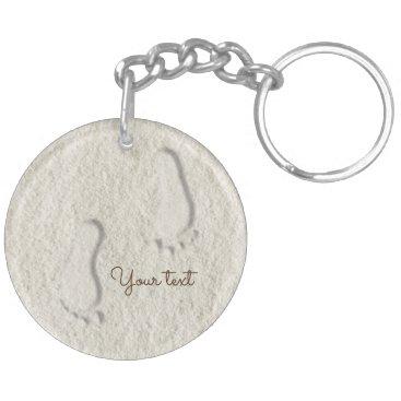 Beach Themed Custom footprint/footprints on sandy beach design keychain