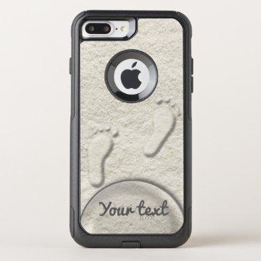 Custom footprint/footprints on sandy beach design OtterBox commuter iPhone 7 plus case