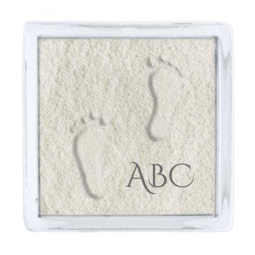 Beach Themed Custom footprint/footprints on sandy beach design silver finish lapel pin