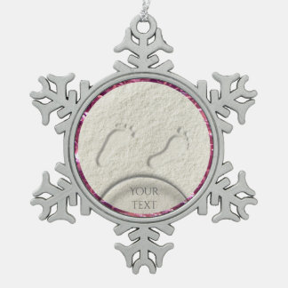 Custom footprint/footprints on sandy beach design snowflake pewter christmas ornament
