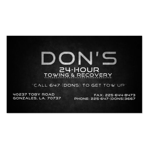 Custom for Don's Towing Business Card Templates