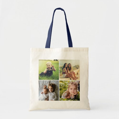 Custom Four Photo Collage Tote Bag