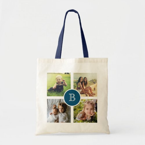 Custom Four Photo Collage with Initial Tote Bag
