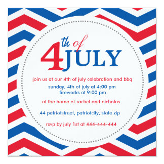 "Custom fourth of july 4th july 5.25"" square invitation card"