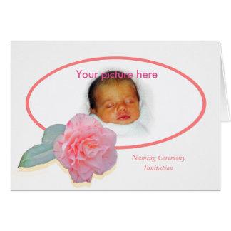 Custom Frame , Camelia , Naming Ceremony. Card