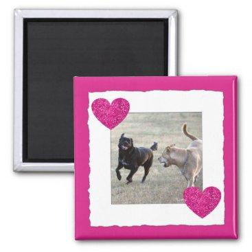 Beach Themed Custom Frame | Instagram Photo Pink Hearts Magnet