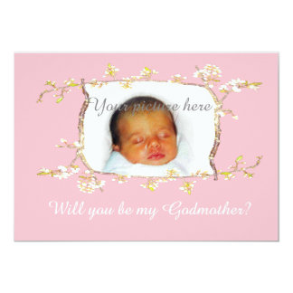 Custom frame,Will you be my Godmother?Plum blossom Card
