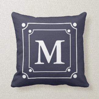Custom Framed Monogram Solid Color Blue Pillows