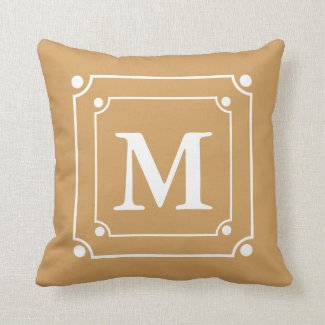 Custom Framed Monogram Solid Color Gold Throw Pillow