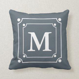 Custom Framed Monogram Solid Color Gray Pillows