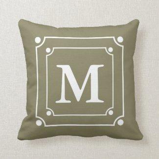 Custom Framed Monogram Solid Color Green Pillows