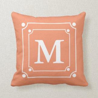 Custom Framed Monogram Solid Color Orange Throw Pillow