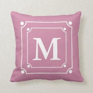 Custom Framed Monogram Solid Color Pink Pillow