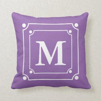 Custom Framed Monogram Solid Color Purple Pillow