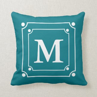 Custom Framed Monogram Solid Color Teal Throw Pillows