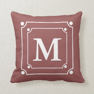 Custom Framed Monogram Solid Color Wine Red Throw Pillows