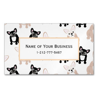 Custom French Bulldog Pattern Magnetic Business Card