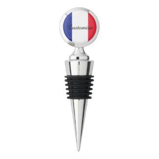 Custom French flag chrome wine bottle stopper