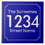 """Custom French House Number Ceramic Tile<br><div class=""""desc"""">Patterned after French street signs and address numbers. Narrow white border with reverse circle filets at the corners. Dark blue background. Ceramic number tiles.   You customize with the numbers or letters you need for your ceramic tile or mosaic sign.  Number tile for weather proof signs,  house numbers</div>"""