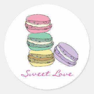 Custom french macaron stickers. classic round sticker