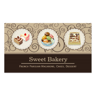 Custom French Parisian Macarons Chocolate Store Double-Sided Standard Business Cards (Pack Of 100)