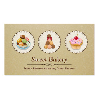 Custom French Parisian Macarons Cupcake Bake Store Double-Sided Standard Business Cards (Pack Of 100)