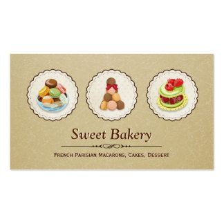 Custom French Parisian Macarons Dessert Bake Store Double-Sided Standard Business Cards (Pack Of 100)