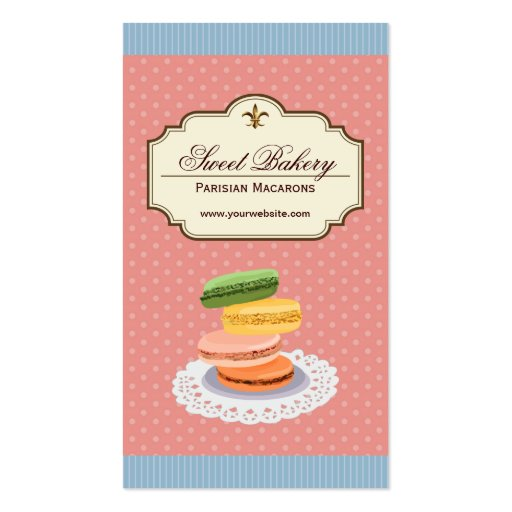Custom French Parisian Macarons Dessert Store Business Card Templates (front side)