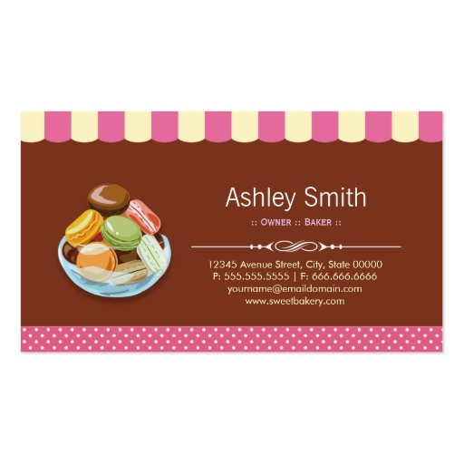 Custom French Parisian Macarons Macaroon Store Business Cards (back side)