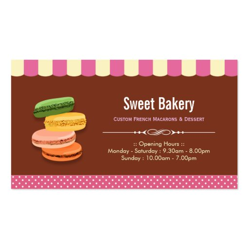 Custom French Parisian Macarons Macaroon Store Business Cards (front side)