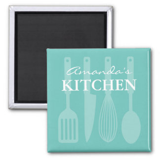 Custom fridge magnet with kitchen cooking utensils