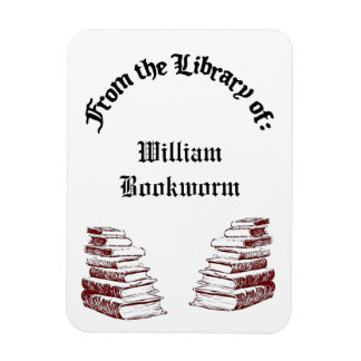 Custom From the Library of Vintage Books MagnetA Rectangular Magnets