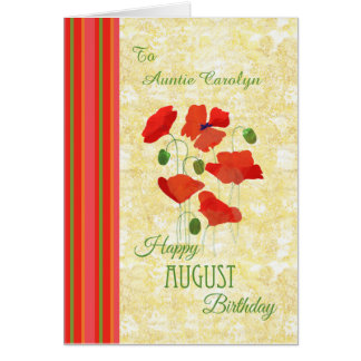 Custom Front August Birthday Card, Poppies Card