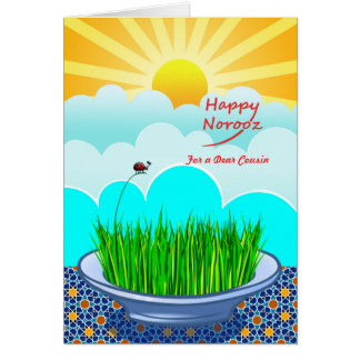 Custom Front Happy Norooz for Cousin, Sabzeh Plate Card