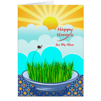 Custom Front Happy Norooz for Mom, Sabzeh, Wheat Card